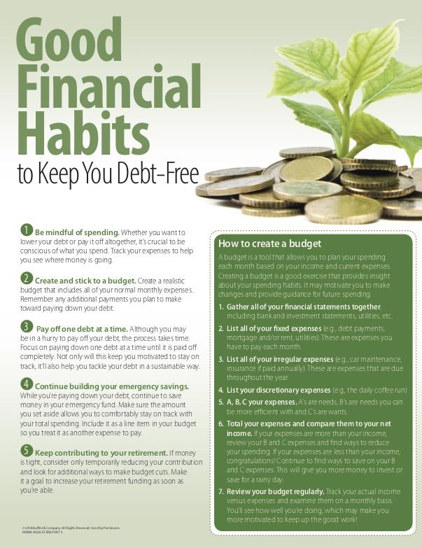 money saving habits in debt